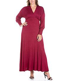 Women's Plus Size Bishop Sleeves Maxi Dress