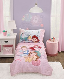 Toddler Girl's Princess Belle, Ariel and Cinderella Bed Set, 4-Piece