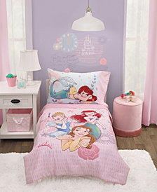 Toddler Girl's Princess Belle, Ariel and Cinderella Bed Set, 4-Piece