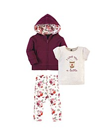 Toddler Boys and Girls 3 Piece Cotton Hoodie, Tee Top and Pant Set