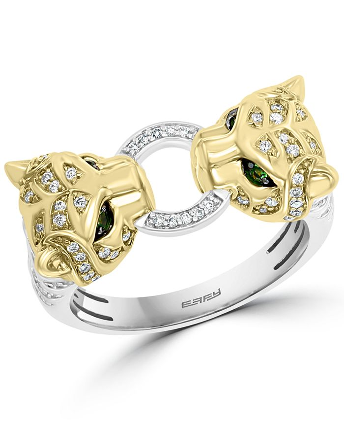 EFFY Collection - Diamond (1/3 ct. t.w.) & Tsavorite Accent Twin Panther Statement Ring in Sterling Silver & 14k Gold-Plate