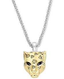 "EFFY® Diamond (1/10 ct. t.w.) & Black Sapphire Accent Panther 18"" Pendant Necklace in Sterling Silver & 14k Yellow Gold-Plate"