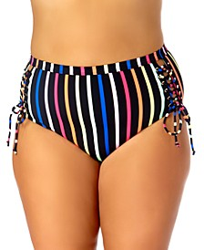 California Waves Trendy Plus Size Striped Lace-Up Bikini Bottoms