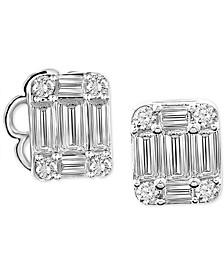 Diamond Baguette Cluster Stud Earrings (5/8 ct. t.w.) in 14k White Gold