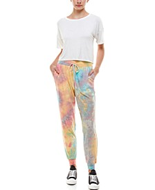 Juniors' Tie-Dyed Slim Jogger Pants