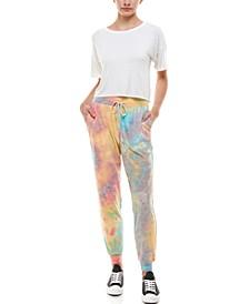 Juniors' Tie-Dyed Slim Jogger Pants