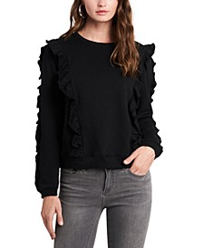 Ruffled Crew-Neck Sweatshirt