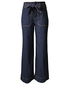 Juniors' Belted Wide-Leg Jeans