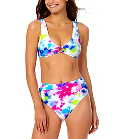 Tie-Dyed Bikini Top & Tie-Dyed High-Waist Bottoms, Created for Macy's