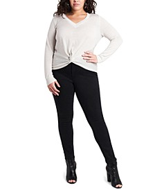 Trendy Plus Size Metallic Twist-Front Top