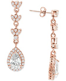 Cubic Zirconia Teardrop Halo Drop Earrings in 18k Rose Gold-Plated Sterling Silver, Created for Macy's