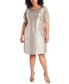 Plus Size Foil-Knit Puff-Sleeve Dress