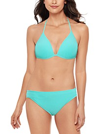 Juniors' Crinkle In Time Molded Bikini Top & Hipster Bikini Bottoms, Created for Macy's