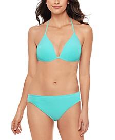 Juniors' Crinkle In Time Molded Bikini Top & Hipster Bikini Bottoms, Created for Macy's