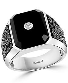 EFFY® Men's Onyx, Black Spinel & Diamond (1/20 ct. t.w.) Ring in Sterling Silver