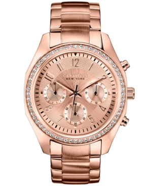 Caravelle New York by Bulova Women's Chronograph Rose Gold-Tone Stainless Steel Bracelet Watch 36mm 44L117