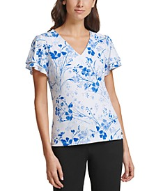 Floral-Print Tiered-Sleeve Top