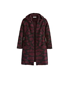 Women's Plus Size Giraffe Print Hooded Cardigan