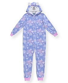Big Girl's Snowflake Print Minky Fleece Onesie with Shimmer and Novelty Bear Hood