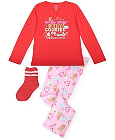 Big Girl's 2 Piece Christmas List Pajama Set with Socks