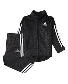 Baby Girls Long Sleeve Leohertzen Emboss Zip Front Jacket & Tricot Pant Set