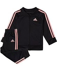 Baby Girls Zip Front Classic Tricot Jacket & Jogger Set