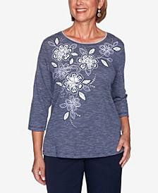 Women's Plus Size Vacation Mode Applique Floral Mini Striped Top