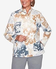 Women's Plus Size Glacier Lake Floral Patchwork Polar Fleece Jacket