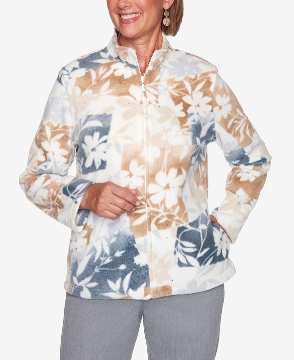 Alfred Dunner Women's Plus Size Glacier Lake Floral Patchwork Polar Fleece Jacket