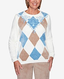 Women's Plus Size Dover Cliffs Argyle Floral Yoke Embroidered Sweater