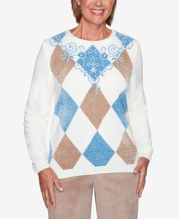 Alfred Dunner Women's Plus Size Dover Cliffs Argyle Floral Yoke Embroidered Sweater