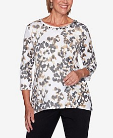 Women's Plus Size Catwalk Animal Print Knit Top