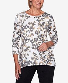 Women's Plus Size Catwalk Animal Print Knit Top