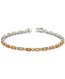 Citrine (5-3/4 ct. t.w.) & White Topaz (7/8 ct. t.w.) Tennis Bracelet in Sterling Silver