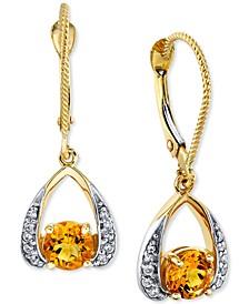Citrine (1 ct. t.w.) & Diamond (1/8 ct. t.w.) Drop Earrings in 14k Gold