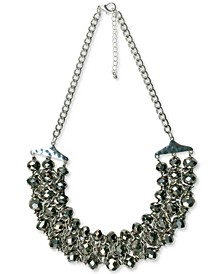 "Silver-Tone Beaded Triple-Row Statement Necklace, 20"" + 3"" extender, Created for Macy's"