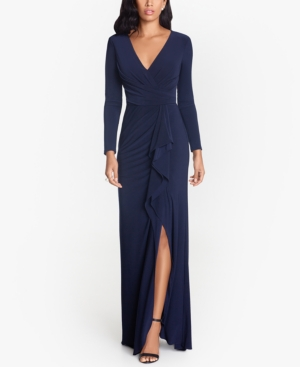 Ruffled Side-Slit Gown & Face Mask