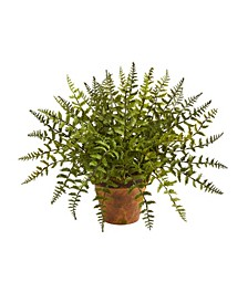 Leather Fern Artificial Plant in Decorative Planter