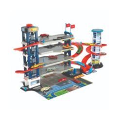 Dickie Toys Parking Garage Playset, 4 Die-Cast Cars and Die-Cast Helicopter