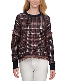 Lurex Plaid Weaved Fringe Sweater