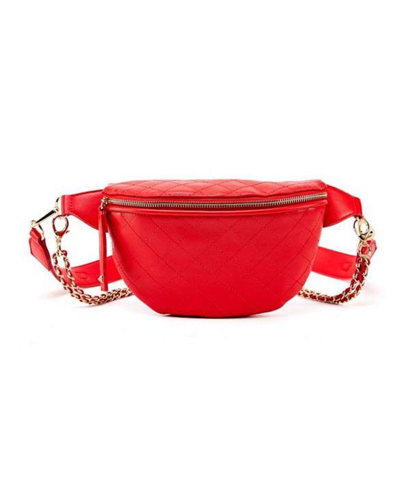 LIKE DREAMS Quilted Chain Embellished Belt Bag