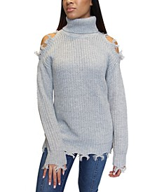 Juniors' Destructed Turtleneck Tunic Sweater