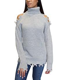 Juniors' Destructed Turtleneck Tunic Sweater