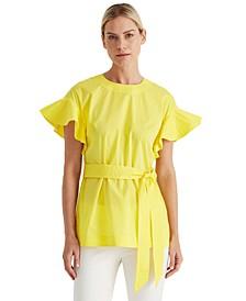 Cotton-Blend Flutter-Sleeve Top