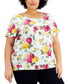 Plus Size Rose Reverie Printed Top, Created for Macy's