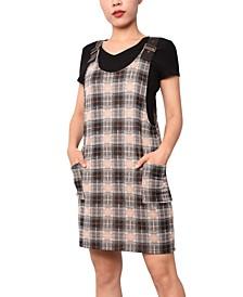 Juniors' Faux-Leather Strap Plaid Dress