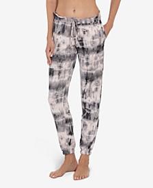 Women's Tie Dye Print Hacci Loungewear Joggers