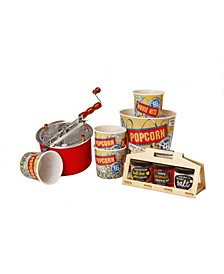 Red Whirley Pop with Handmade Wooden Crate Popcorn Set, 9 Pieces