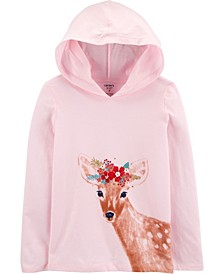 Big Girls Deer Hooded Jersey Tee
