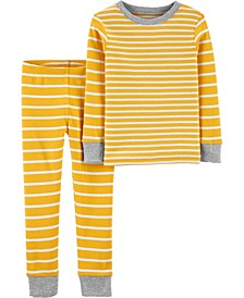 Baby Girls and Boys 2-Piece Striped Snug Fit Cotton PJs